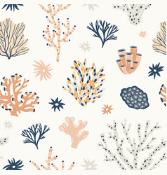 Natural seamless pattern with orange and blue vector