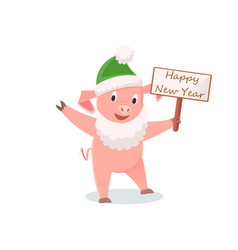 new year pig in santa costume zodiac animals vector image