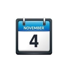 November 4 Calendar icon flat vector