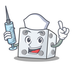 Nurse dice character cartoon style vector