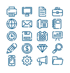 office business and finance outline icons vector image