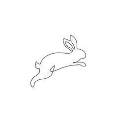 one single line drawing cute jumping rabbit vector image