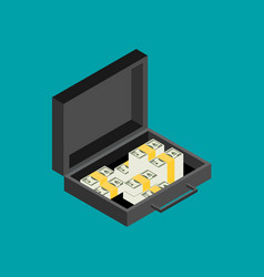 open portfolio with money suitcase isometric flat vector image