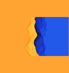 Paper cut abstract background 3d yellow vector