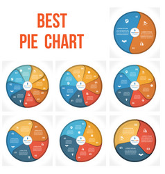 Pie chart infographic 2 3 4 5 6 7 8 positions vector