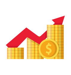 pile coins and growing graph vector image