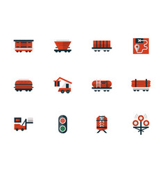 railway flat design red icons vector image
