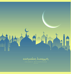 Ramadan festival greeting with mosque shapes vector