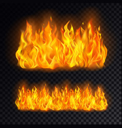 Realistic fire or campfire bonfire on transparent vector