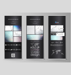 Roll up banner stands abstract geometric design vector