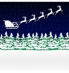 Santa Claus rides in a sleigh in harness on the vector