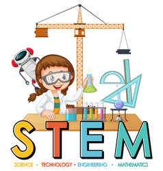 Scientist girl cartoon character with stem vector