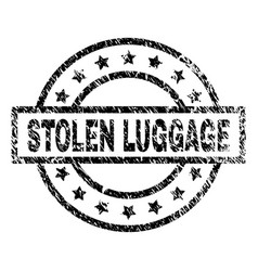 Scratched textured stolen luggage stamp seal vector