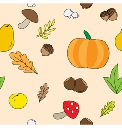 Seamless Background with Fall plants vector