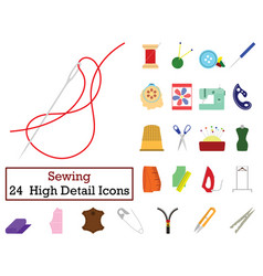 set of 24 sewing icons vector image