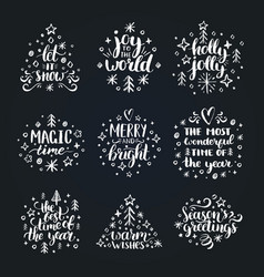 set of new year hand lettering on black background vector image