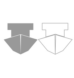 ship grey set icon vector image