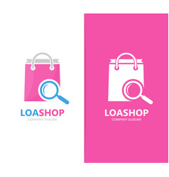 shop and loupe logo combination sale vector image