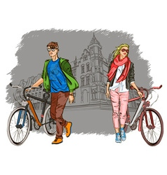 Sightseeing Girl and Guy Biking Around vector image