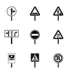 Sign icons set simple style vector