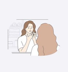 Skincare skin problems pimples concept vector