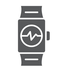 smart watch glyph icon clock and digital gadget vector image