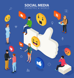 social media isometric concept young people vector image