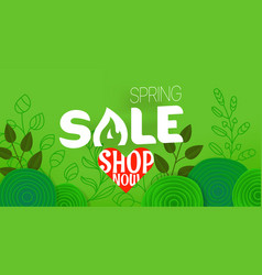 spring sale offer shopping banner template with vector image
