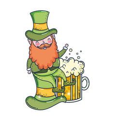 st patricks day leprechaun with beer vector image