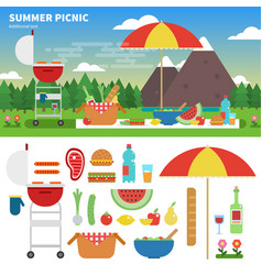 Summer picnic in the mountains vector