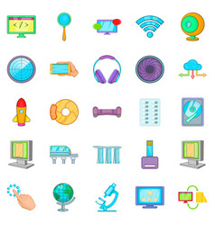 Tech icons set cartoon style vector