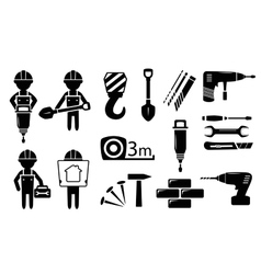 Tools and builders set vector