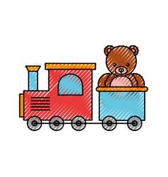 train toy with bear teddy vector image