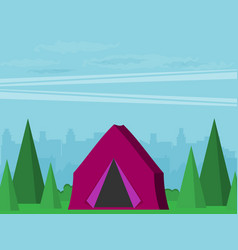 Vintage background with forest city vector