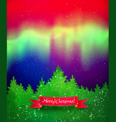 Winter landscape with northern lights vector