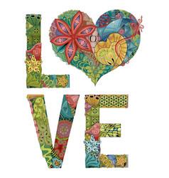 word love decorative zentangle object vector image vector image
