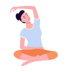 young woman keep calm making yoga stretching vector image