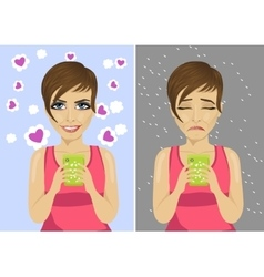 young woman with expressions using her smartphone vector image