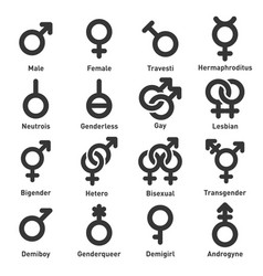 gender icons set on white background vector image vector image