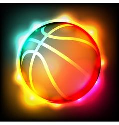 Glowing Basketball vector image vector image