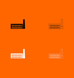 Industrial building factory black and white set vector