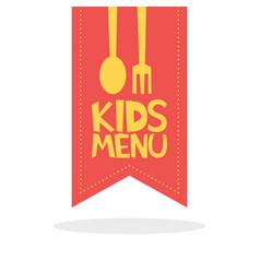 Kids menu red label template vector