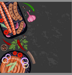 set of grilled sausages vector image vector image