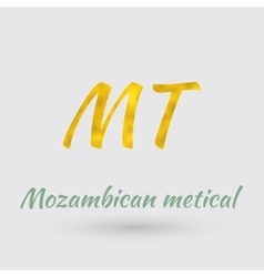 Golden Symbol of the Mozambican metical vector image vector image