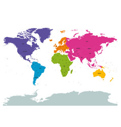 political world colored by continents with country vector image vector image