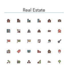 Real Estate Colored Line Icons vector image vector image