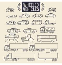 Wheeled vehicles icons vector image