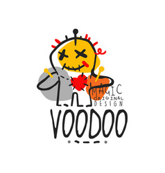 adorable voodoo doll with needles for mystical vector image