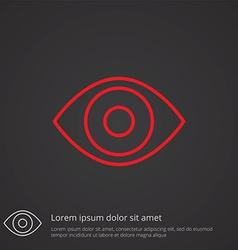 eye outline symbol red on dark background logo vector image