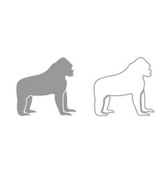 gorilla grey set icon vector image vector image